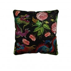 Coussin Velvet Printed Dragon Flowers